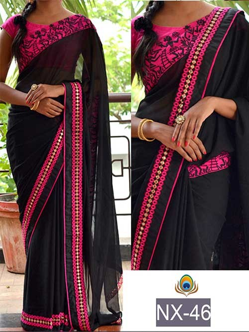 Black Color 60Gm Georgette Saree with eye-catching Work On border