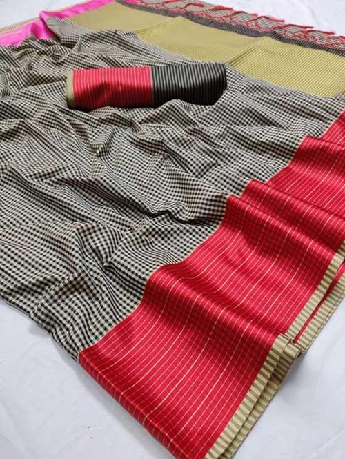 Black Color Beautiful Chex Printed Banarasi Weaving Silk Saree - Aakriti