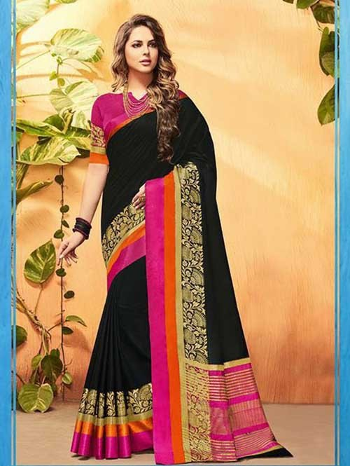 Black Color Beautiful Cotton Silk Saree