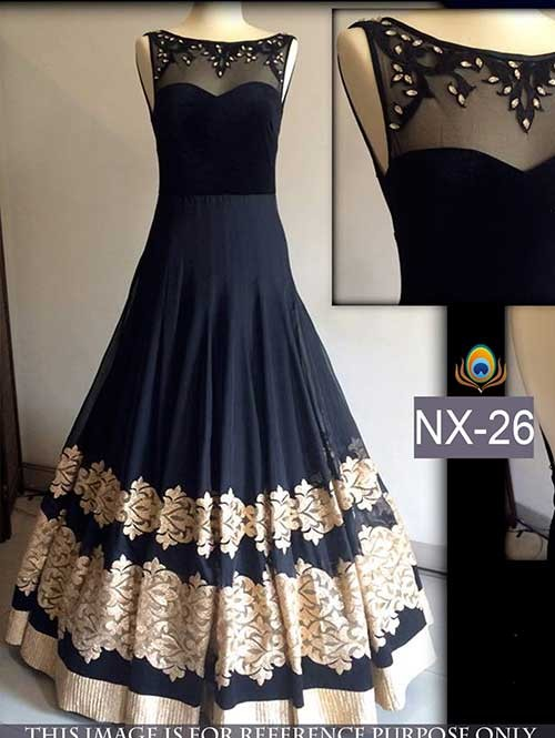 Black Color Beautiful Embroidered Georgette And Net Gown