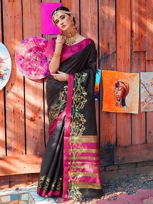 Black Color Beautiful Handloom Waving Silk Saree