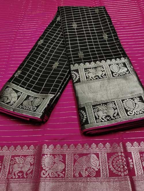 Black Color Beautiful Silk Saree With Zari Weaving Border - Naksharta