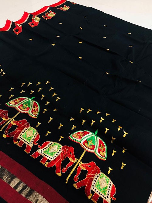 Black Color Beautiful Weaving Cotton Saree - Twinsland