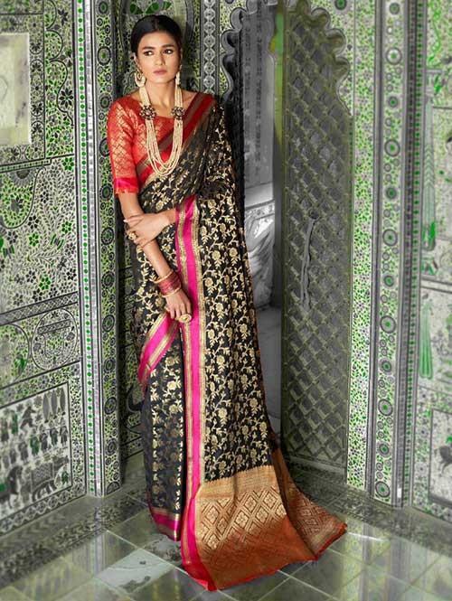 Black Color Beautiful Weaving Silk Saree - Kaanch