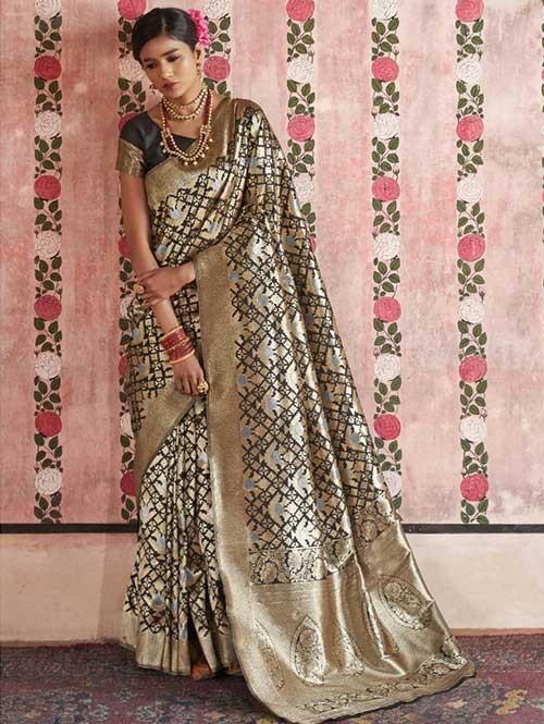 Black Color Beautiful Weaving Silk Saree - Kailashi
