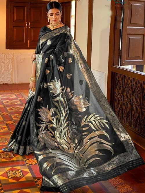 Black Color Beautiful Weaving Silk Saree - Kanshula
