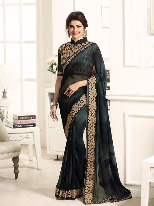 Black Color Georgeous Georgette Saree with Blouse