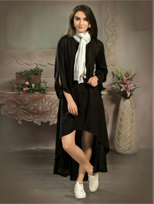 Black Color Designer Tunic Shirt with Knot Belt