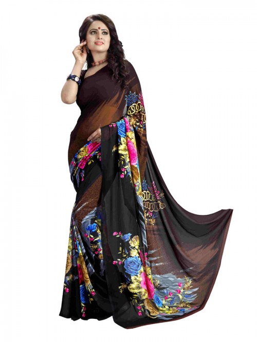 Black Color Printed Beautiful weightless saree with Blouse