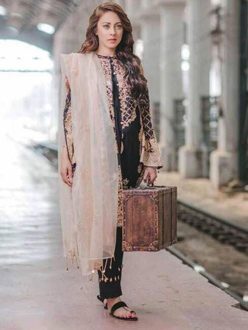 Black Color Self Embroidered Cotton Pakistani Suit