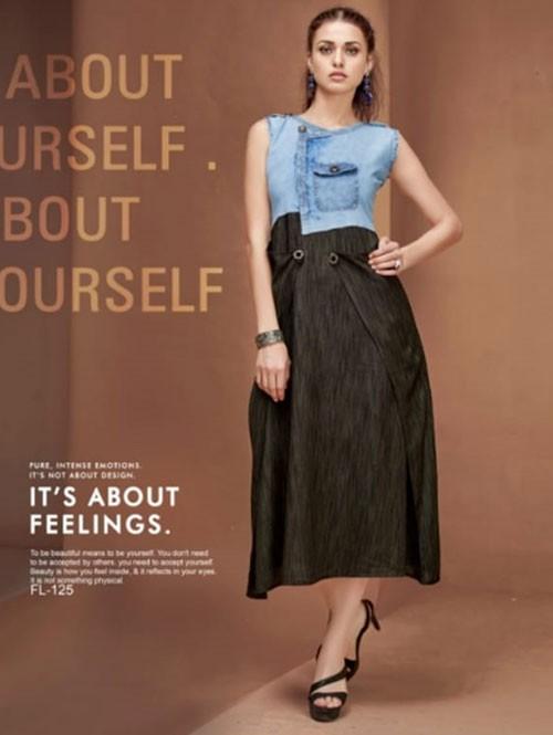 Black Colored A-Line Rayon Denim Pocket Style Kurti in Best Quality - latest kurti