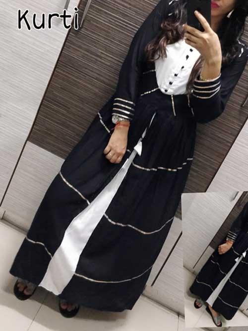 Black Colored A-Line Rayon Selfie Kurti With gota Patti Lace