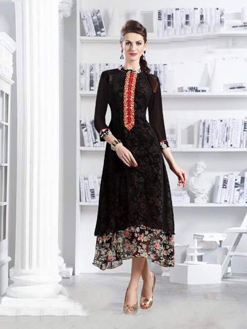 Black Colored Apricot Fancy Georgette Khatali Embroidered Work Kurti