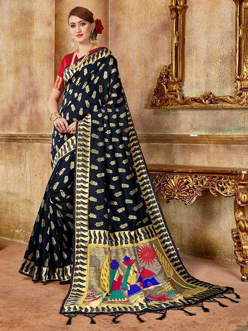 Black colored Beautiful Banarasi Silk Saree
