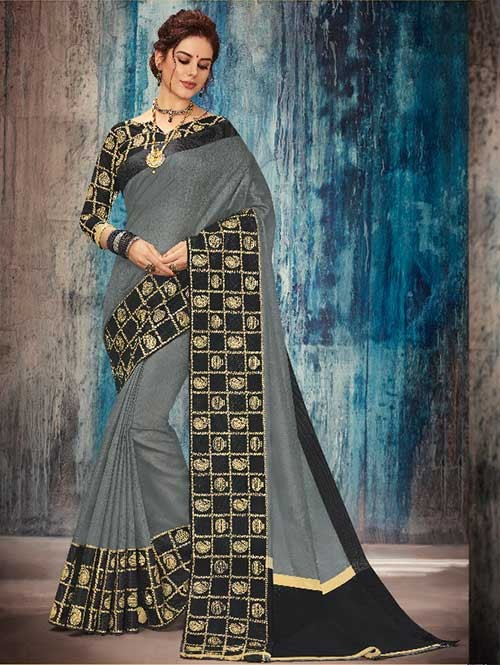Black Colored Beautiful Banarasi Silk Saree With Rich Blouse