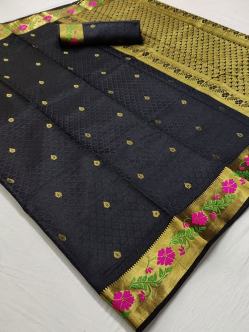 Black Colored Beautiful Branded Soft Weaving Silk Saree - Silk India
