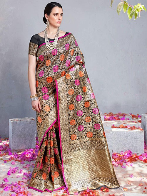 Black Colored Beautiful Branded Weaving Silk Saree - Kilfi