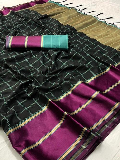 Black Colored Beautiful Branded Weaving Silk Saree - Vedika