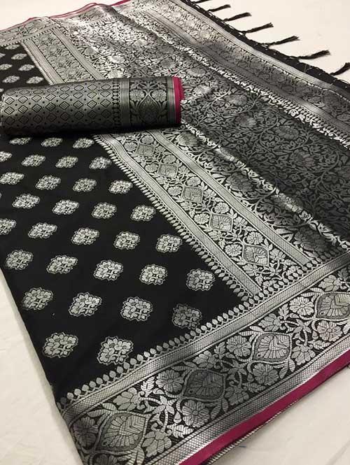 Black Colored Beautiful Branded Weaving Soft Silk Saree
