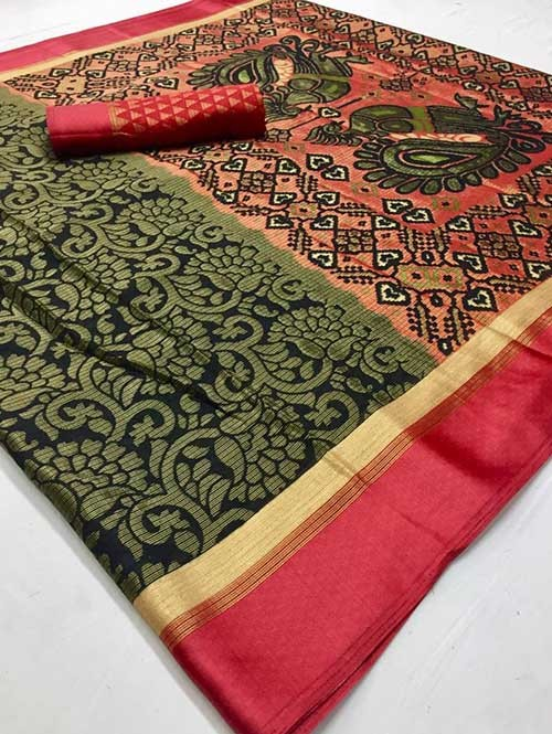 Black Colored Beautiful Brasso Soft Silk Fancy Saree With Kalamkari - Kudrat