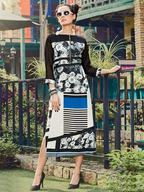 Black and white Colored Gorgeous Printed Crepe Kurti.