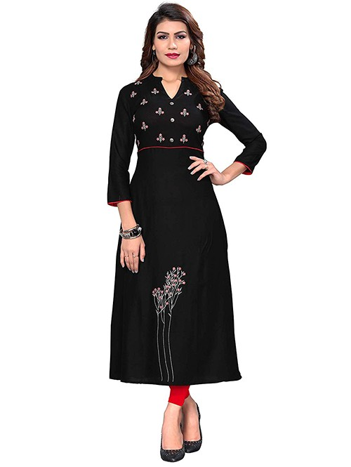 Black Colored Beautiful Embroidered A-Line Rayon Kurti.