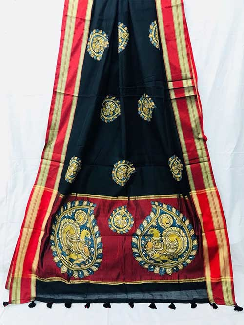 Black Colored Beautiful Embroidered Cotton Saree