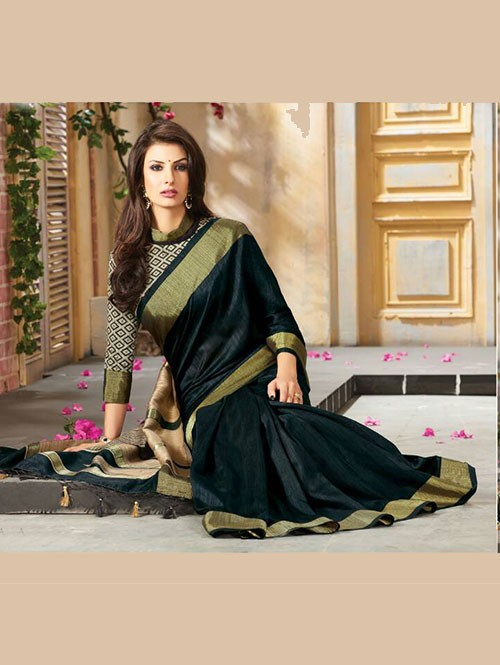 Black Colored Beautiful Embroidered Cotton Saree With Matching Blouse