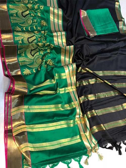 Black Colored Beautiful Embroidered Cotton Silk Saree