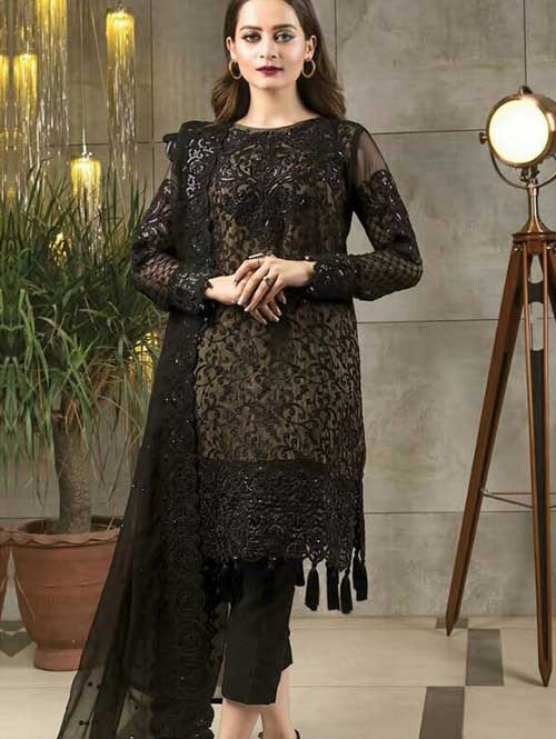 Black Colored Beautiful Embroidered Faux Georgette Pakistani Suit