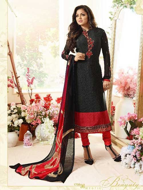 Black Orange Colored Beautiful Embroidered French Creap Salwar Suit With Embroidery Work