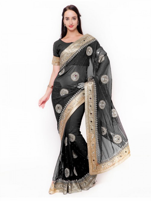 Black Colored Beautiful Embroidered Georgette Saree with embroidered Blouse