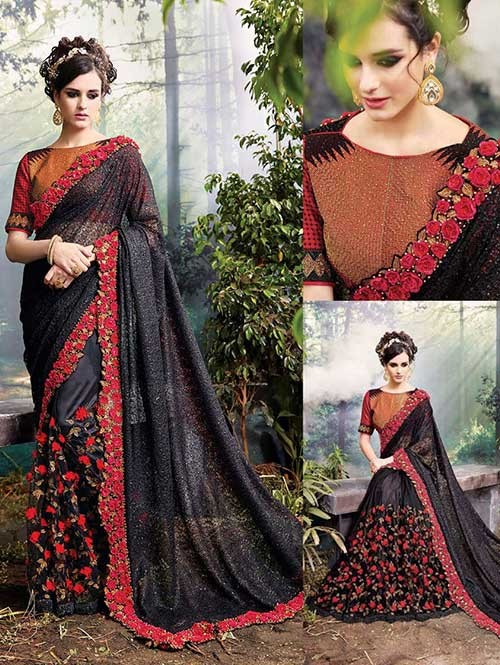 Black Colored Beautiful Embroidered Lycra Silk and Satin Silk Saree
