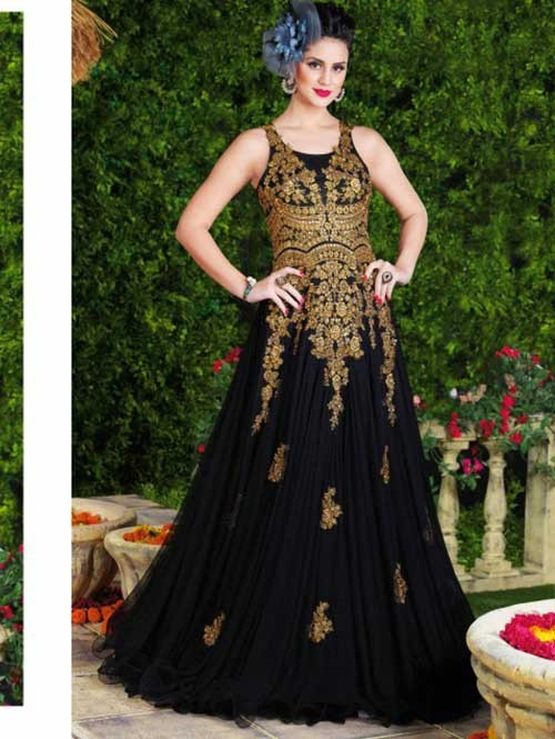 Black Colored Beautiful Embroidered Net Gown