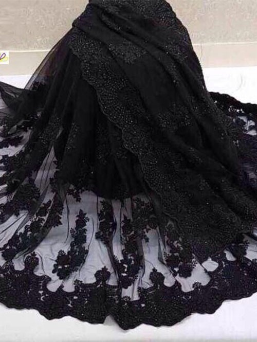 Black Colored Beautiful Embroidered Net Saree