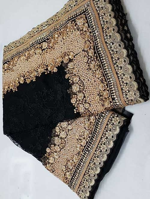 Black Colored Beautiful Embroidered Net Saree With Dimond work and Pearl work