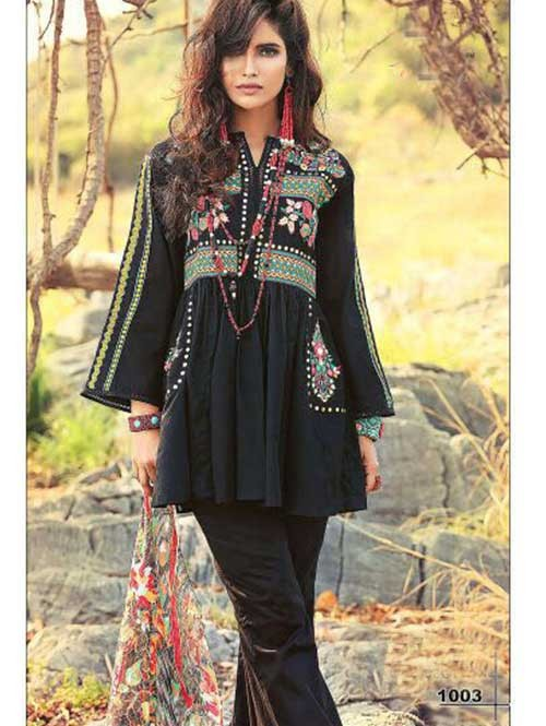 Black Colored Beautiful Embroidered Pakistani Salwar Suit