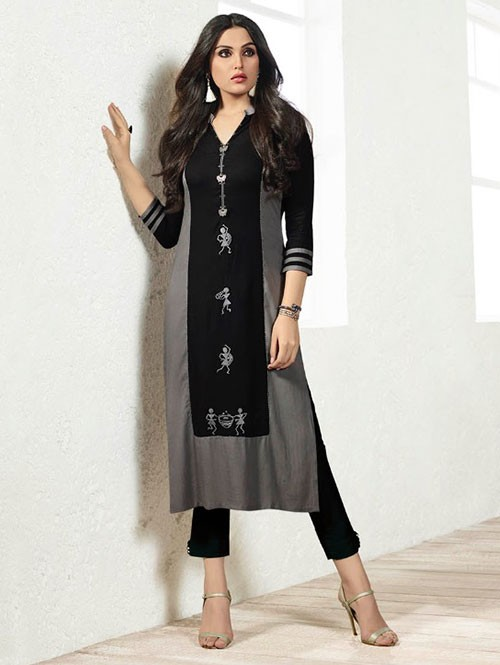 Black Colored Beautiful Embroidered Rayon Kurti
