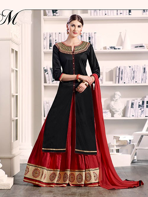Black Colored Beautiful Embroidered Silk Cotton Lehenga Suit