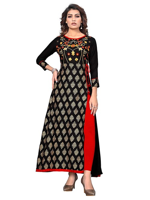 Black Colored Beautiful Embroidered Slit Cut Rayon Kurti - new latest kurti