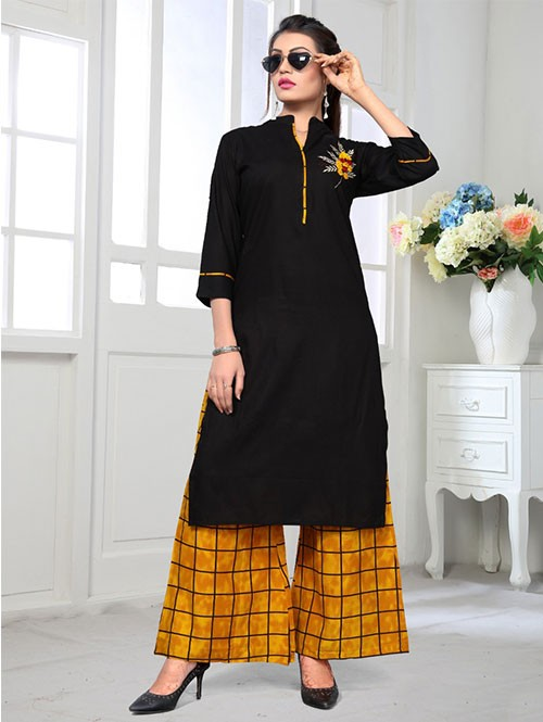 Black Colored Beautiful Embroidered Straight Rayon Kurti With Palazzo Se