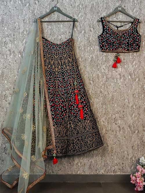 Black Colored Beautiful Embroidered Tapeta Silk Lehenga Choli