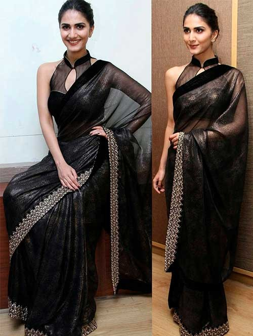 Black Colored Beautiful Foil Georgette Saree