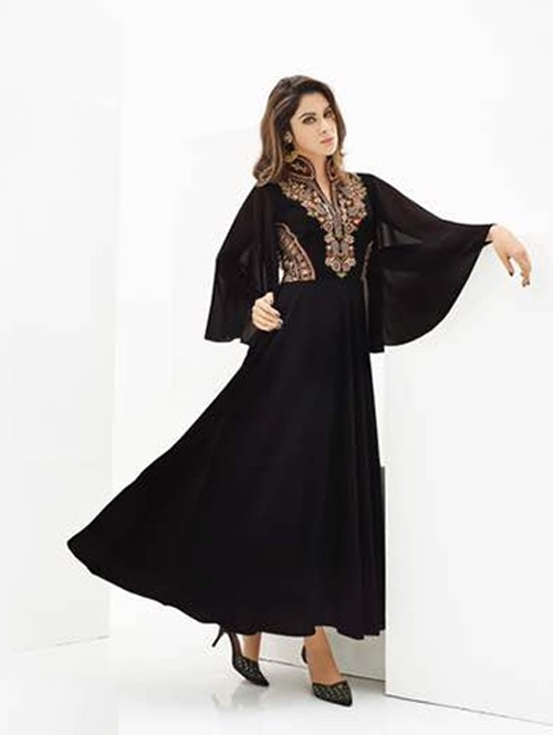 Black Colored Beautiful Georgette Gown Type Kurti with Heavy Embroidery.