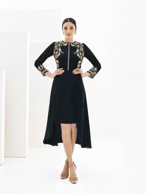 Black Colored Beautiful Georgette High Law Kurti with Heavy Embroidery