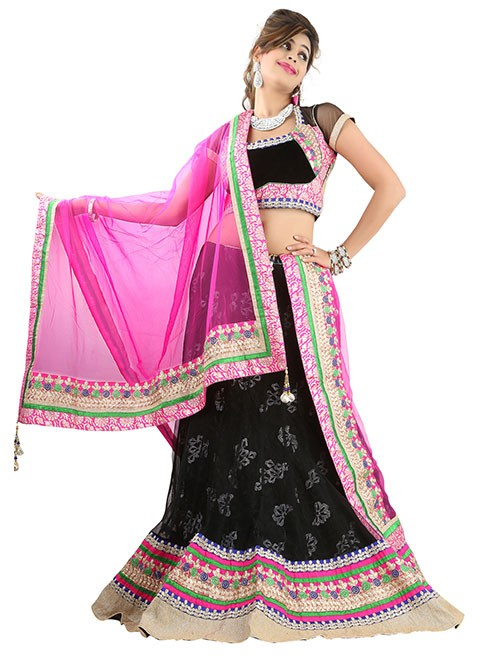 Black Colored Beautiful Heavy Embroidered Net Lehenga With Matching Choli and Dupatta