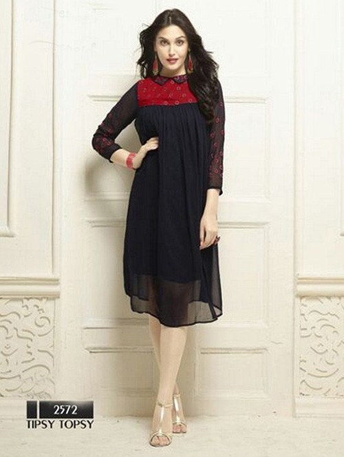Black Colored Beautiful Heavy Faux Georgette Designer Kurti.