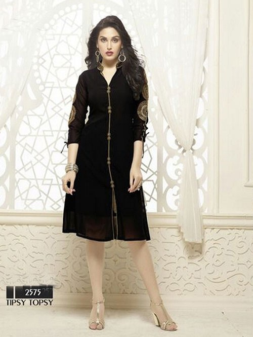Black Colored Beautiful Heavy Faux Georgette Designer Kurti.