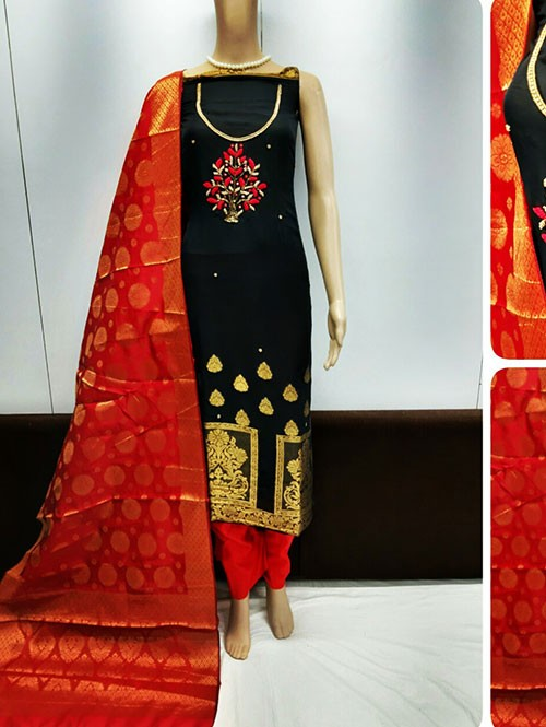 Black Colored Beautiful Jacquard Dress Material.
