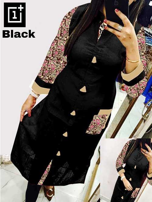 Black Colored Beautiful Kalamkari Printed Straight Slub Cotton Kurti. (